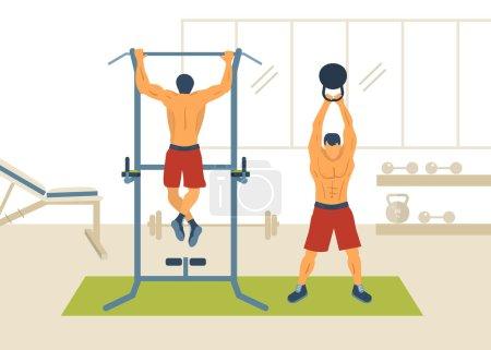 Men exercising on horizontal bar
