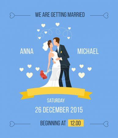 Illustration for Wedding invitation cartoon with cartoon bride, groom with hearts, ribbon - Royalty Free Image