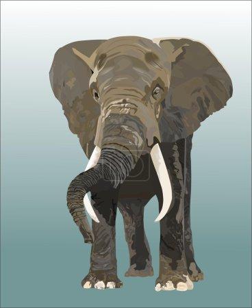 Illustration pour Éléphant, travail, force - image libre de droit