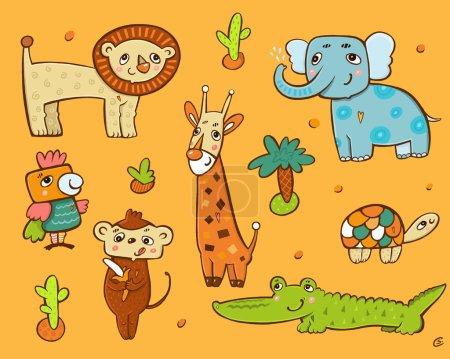 Photo pour Collection of animals in Africa: a giraffe, parrot, lion, turtle, crocodile, elephant, monkey - image libre de droit