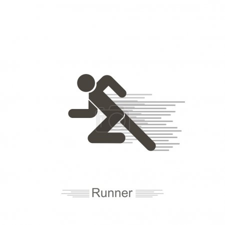 Icon runner on a white background with  lines flat...