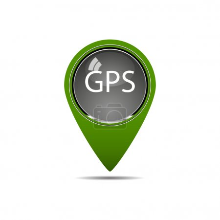 Illustration for A mark is represented on a map with gps - Royalty Free Image