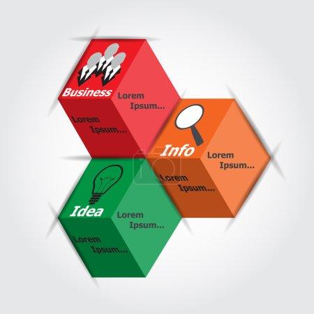 Illustration pour Infographies sur cubes idée de couleur, entreprise, info, illustration vectorielle - image libre de droit