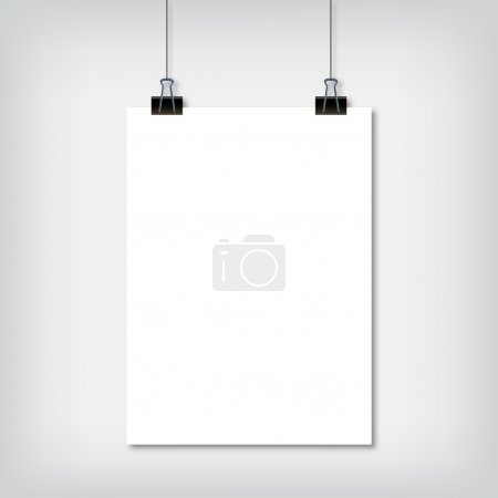 Sheet of paper hanging on the wall with shadow vector illustration