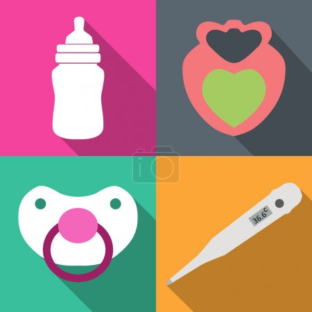 Icons childcare vector graphics on 4 colored backgrounds