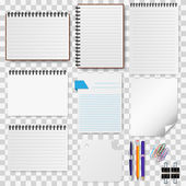 A set of stationery paper notepads vector illustration