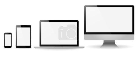 Illustration pour Valeur réalistes moniteurs tablette ordinateur portable et téléphone vecteur illustrati - image libre de droit