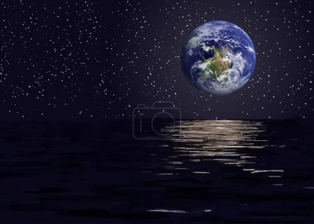Illustration for View of planet earth from the space sea.Elements of this vector furnished by NASA - Royalty Free Image