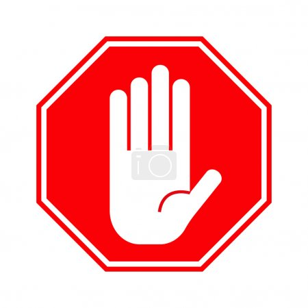 Red stop hand sign