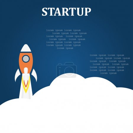 Business startup launch concept flat design blue background