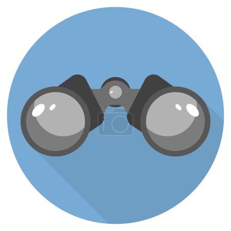 Binoculars Icon Flat design long shadow blue circle