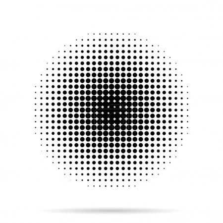 Illustration for Halftone dots radial with shadow on white  background - Royalty Free Image