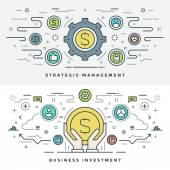 Flat line Investment and Business Strategy Concept Vector illustration Modern thin linear stroke vector icons Website Header Graphics Banner Infographics Design Promotional Material Money Icon