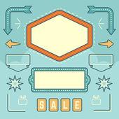 Retro American 1950s Sign Design Elements Set