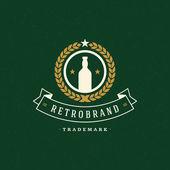 Beer Logo Template Vector Design Element Vintage Style for Logotype Label Badge Emblem