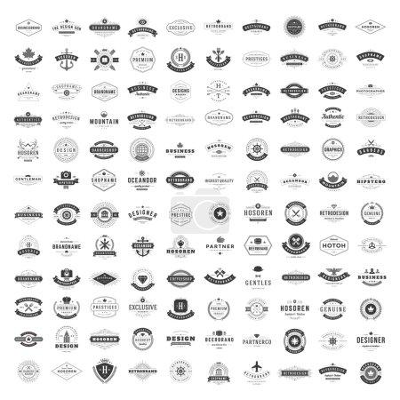 Ilustración de Vintage Logos Design Templates Set. Vector logotypes elements collection, Icons Symbols, Retro Labels, Badges, Silhouettes. Big Collection 120 Items. - Imagen libre de derechos