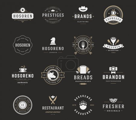 Vintage Logos Design Templates Set, Vector Design Elements