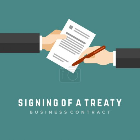 Illustration for Business man hands holding contract and pen, signing of a treaty. Business contract flat design, vector illustration - Royalty Free Image