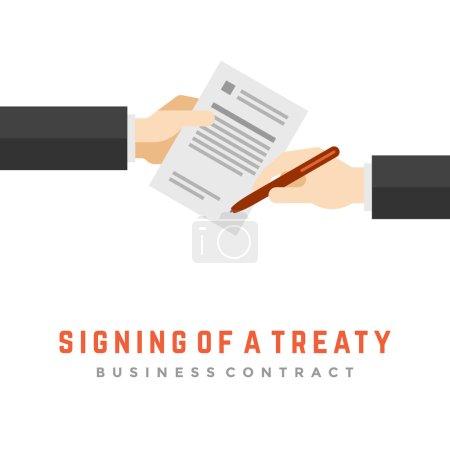 Illustration pour Un homme d'affaires tient un contrat et un stylo, signe un traité. Business contract flat design, illustration vectorielle - image libre de droit