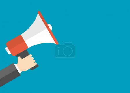 Illustration for Flat design vector business illustration concept. Digital marketing for website and promotion banners. Businessman holding megaphone - Royalty Free Image