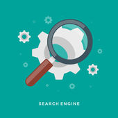Flat design vector business illustration concept of Search Engine Optimization -  magnifying glass and gears for website and promotion banners