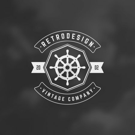 Illustration for Nautical Retro Vintage Insignia, Logotype, Label or Badge Vector design element, business sign template - Royalty Free Image