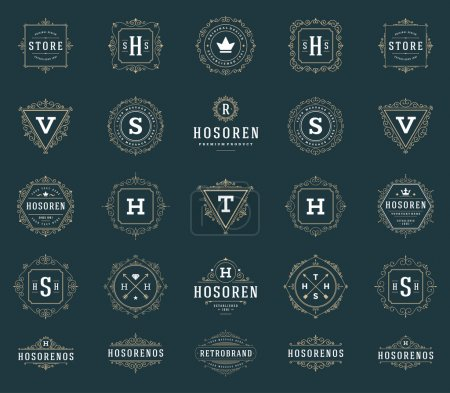Illustration for Set Luxury Logos template flourishes calligraphic elegant ornament lines. Business sign, identity for Restaurant, Royalty, Boutique, Hotel, Heraldic, Jewelry, Fashion and other vector illustration - Royalty Free Image