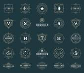 Set Luxury Logos template flourishes calligraphic elegant ornament lines Business sign identity for Restaurant Royalty Boutique Hotel Heraldic Jewelry Fashion and other vector illustration