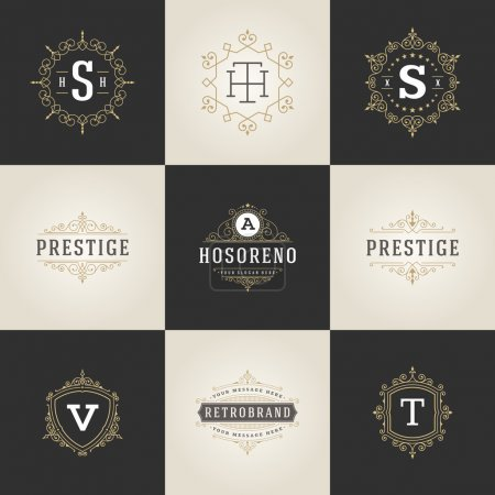 Set Luxury Logos template flourishes calligraphic