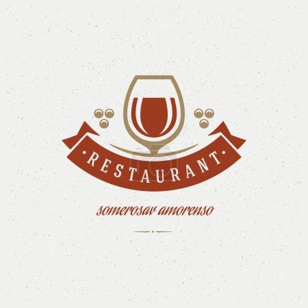 Illustration pour Restaurant Shop Design Elément dans un style vintage pour Logotype, Étiquette, Badge et autre design. Verre à vin et illustration vectorielle rétro raisin - image libre de droit