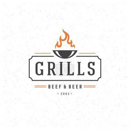 Illustration for Grill Design Element in Vintage Style for Logotype, Label, Badge and other design. Fire flame retro vector illustration - Royalty Free Image