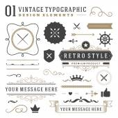 Retro vintage typographic design elements Labels ribbons logos symbols crowns calligraphy swirls ornaments and other
