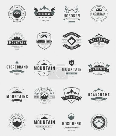 Illustration for Set Mountains Logos, Badges and Labels Vintage Style.  Design elements retro vector illustration - Royalty Free Image