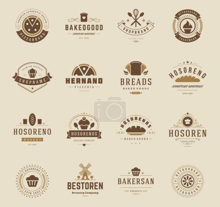 Illustration pour Boulangerie Logos, insignes et étiquettes Ensemble d'éléments de conception. Pain, gâteau, café objets de style vintage illustration vectorielle rétro - image libre de droit