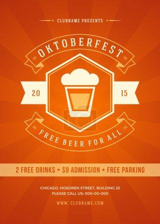 Illustration pour Oktoberfest festival de la bière célébration rétro typographie affiche ou flyer modèle - image libre de droit