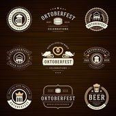Beer festival Oktoberfest labels badges and logos set