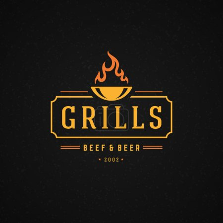 Grill Design Element in Vintage Style for Logotype