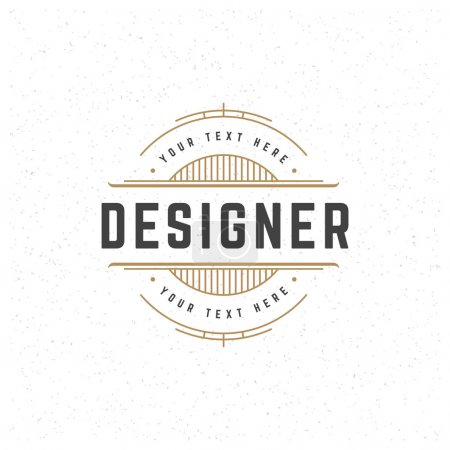 Illustration for Designer Design Element in Vintage Style for Logotype, Label, Badge and other design. Line art Retro vector illustration - Royalty Free Image