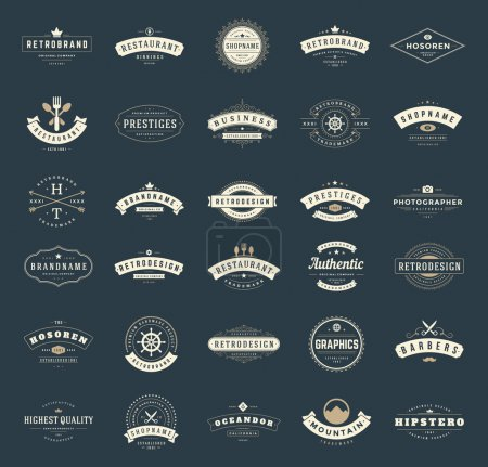 Illustration for Retro Vintage Logotypes or insignias set. Vector design elements, business signs, logos, identity, labels, badges, ribbons, stickers and other branding objects - Royalty Free Image