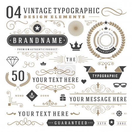 Illustration for Retro vintage typographic design elements. Arrows, labels ribbons, logos symbols, crowns, calligraphy swirls ornaments and other - Royalty Free Image
