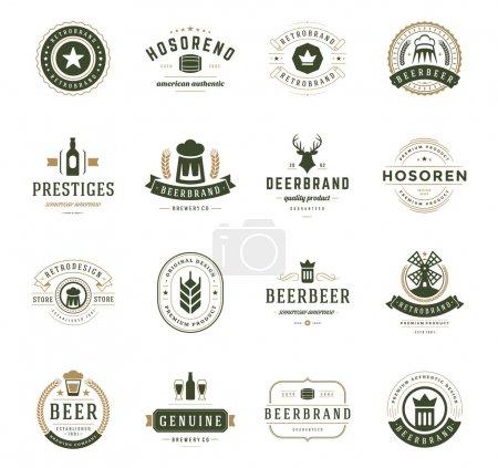 Illustration pour Set Logos, insignes et étiquettes de bière Style Vintage. Eléments de conception illustration vectorielle rétro - image libre de droit