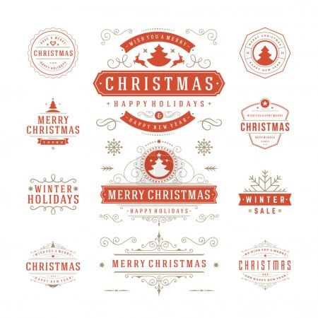 Photo for Christmas Labels and Badges Vector Design. Decorations elements, Symbols, Icons, Frames, Ornaments and Ribbons, set. Typographic Merry Christmas and Happy Holidays wishes - Royalty Free Image
