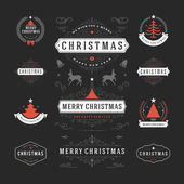Christmas Decorations Vector Design Elements Typographic elements Symbols Icons Vintage Labels Badges Frames Ornaments and Ribbons set Flourishes calligraphic Merry Christmas and Happy