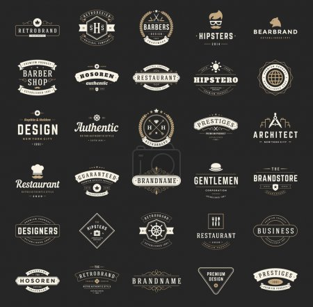 Illustration for Retro Vintage Logotypes or insignias set. Vector design elements, business signs, logos, identity, labels, badges, shirts, ribbons and other branding objects - Royalty Free Image