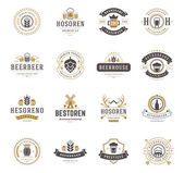 Set Beer Logos Badges and Labels Vintage Style Design elements retro vector illustration