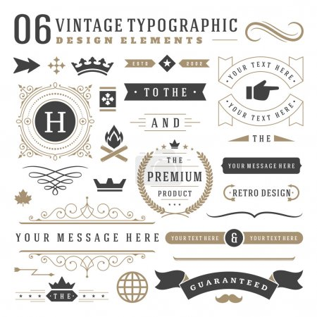 Illustration for Retro vintage typographic design elements. Labels ribbons, logos symbols, crowns, calligraphy swirls, ornaments and other - Royalty Free Image