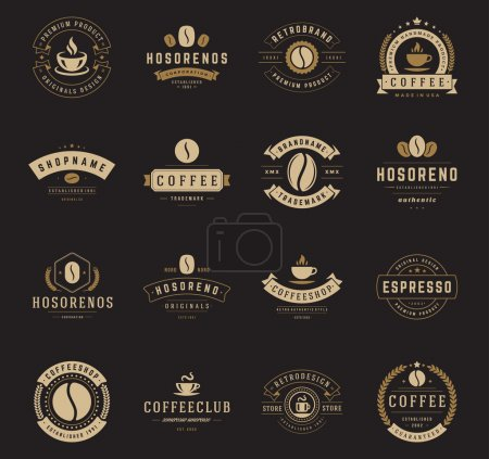 Illustration for Coffee Shop Logos, Badges and Labels Design Elements set. Cup, beans, cafe vintage style objects retro vector illustration - Royalty Free Image