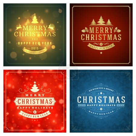 Christmas greetings cards vector backgrounds set