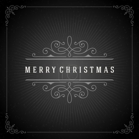 Illustration for Christmas typography greeting card and flourishes ornament decoration. Merry Christmas holidays wish and happy new year message chalk style design on chalkboard background. Vector illustration - Royalty Free Image