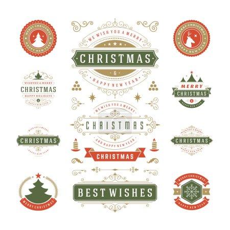 Ilustración de Navidad etiquetas y diseño de Vector divisas. Elementos de decoración, símbolos, iconos, cuadros, adornos y cintas, Set. Deseos tipográfico feliz Navidad y felices fiestas - Imagen libre de derechos
